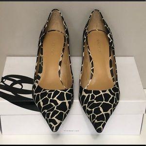 Nine West black & white giraffe print canvas heels